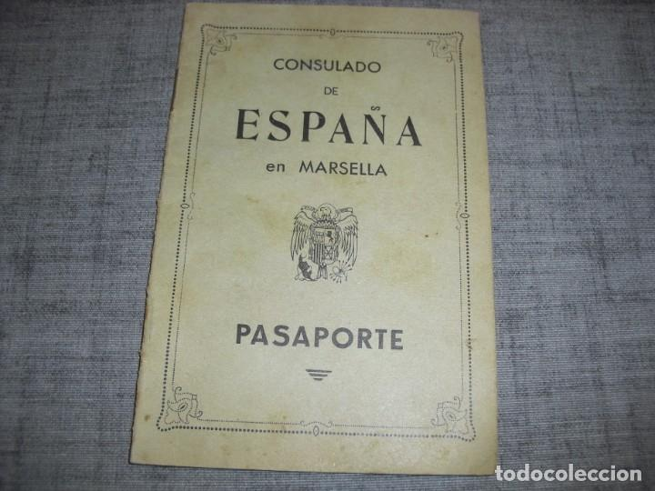 PASAPORTE CONSULADO MARSELLA POS GUERRA CIVIL 1939 (Militar - Guerra Civil Española)
