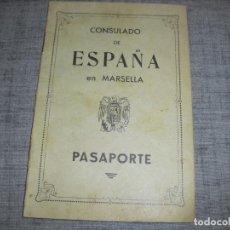 Militaria: PASAPORTE CONSULADO MARSELLA POS GUERRA CIVIL 1939. Lote 190416405
