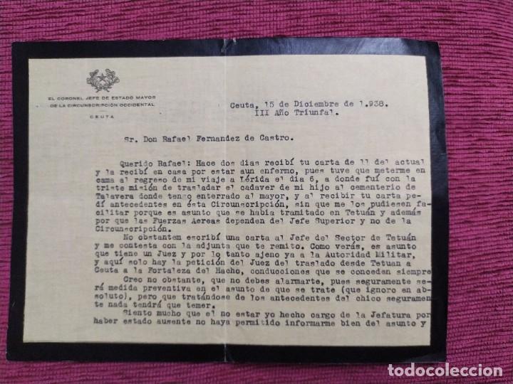 1938. DOCUMENTO ESTADO MAYOR DE CEUTA. FIRMADO POR EMILIO PEÑUELAS, CORONEL JEFE. (Militar - Guerra Civil Española)