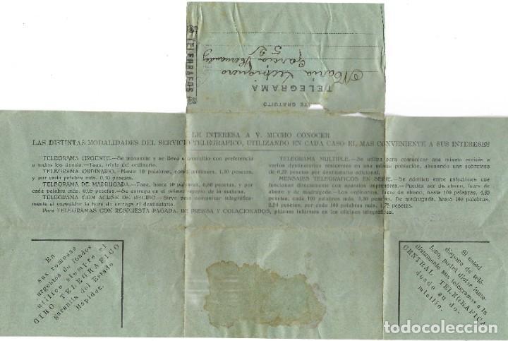 Militaria: TELEGRAMA DE PUERTOLLANO A SUECA (VALENCIA) FECHADO EN MARZO DE 1937 - Foto 2 - 193345783