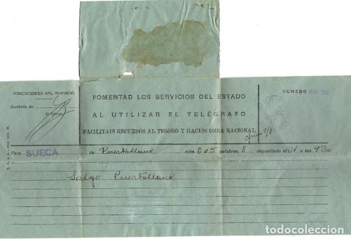 Militaria: TELEGRAMA DE PUERTOLLANO A SUECA (VALENCIA) FECHADO EN MARZO DE 1937 - Foto 3 - 193345783
