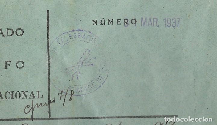 Militaria: TELEGRAMA DE PUERTOLLANO A SUECA (VALENCIA) FECHADO EN MARZO DE 1937 - Foto 4 - 193345783