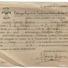 Militaria: SUECA (VALENCIA) RECIBO DE LA FALANGE ESPAÑOLA TRADICIONALISTA Y DE LAS JONS POR ALTA MAYO 1939. Lote 193346161