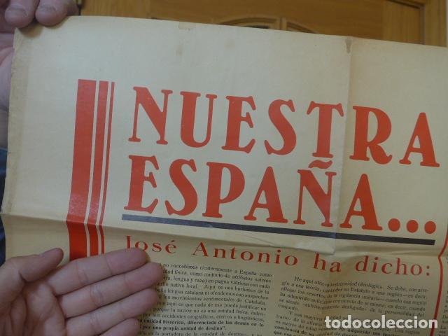 Militaria: * Antiguo y raro cartel de guerra civil de 1939, catalan, jose antonio primo rivera, falange. ZX - Foto 2 - 194238567