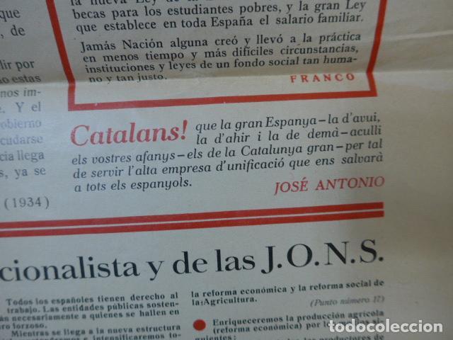 Militaria: * Antiguo y raro cartel de guerra civil de 1939, catalan, jose antonio primo rivera, falange. ZX - Foto 4 - 194238567