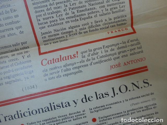 Militaria: * Antiguo y raro cartel de guerra civil de 1939, catalan, jose antonio primo rivera, falange. ZX - Foto 8 - 194238567