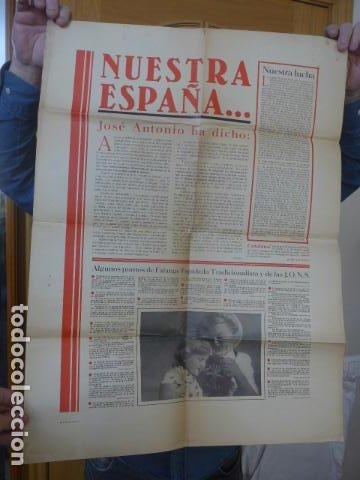 * ANTIGUO Y RARO CARTEL DE GUERRA CIVIL DE 1939, CATALAN, JOSE ANTONIO PRIMO RIVERA, FALANGE. ZX (Militar - Guerra Civil Española)