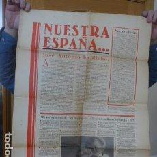 Militaria: * ANTIGUO Y RARO CARTEL DE GUERRA CIVIL DE 1939, CATALAN, JOSE ANTONIO PRIMO RIVERA, FALANGE. ZX. Lote 194238567