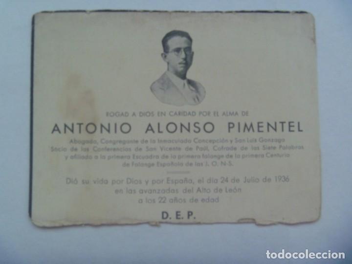 Militaria: GUERRA CIVIL - FALANGE : RECORDATOIO FALANGISTA MUERTO EN ALTO DE LEON EN 1936 - Foto 2 - 194242917