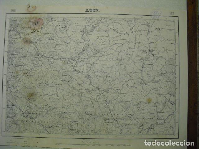 MAPA DE AOIZ DEL EJERCITO NACIONAL E 1:50000 SELLO DEL CUARTEL GENERAL DEL GENERALÍSIMO (Militar - Guerra Civil Española)
