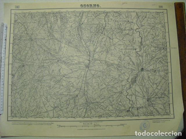MAPA DE OSORNO DEL EJERCITO NACIONAL E 1:50000 SELLO DEL CUARTEL GENERAL DEL GENERALÍSIMO (Militar - Guerra Civil Española)