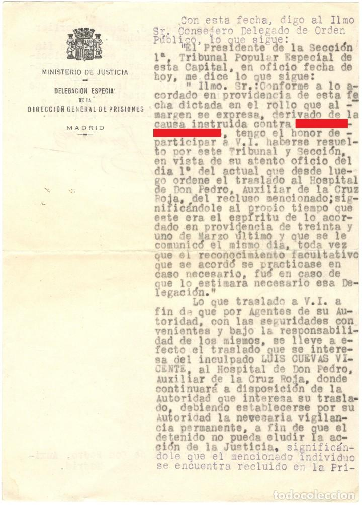 TRASLADO DE PRISIONERO DE LA CÁRCEL DE GENERAL DÍEZ PORLIER A HOSPITAL - TRIBUNAL POPULAR 1937 (Militar - Guerra Civil Española)