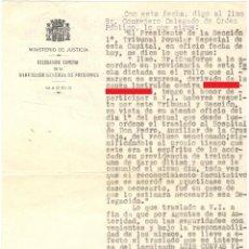 Militaria: TRASLADO DE PRISIONERO DE LA CÁRCEL DE GENERAL DÍEZ PORLIER A HOSPITAL - TRIBUNAL POPULAR 1937. Lote 194534465