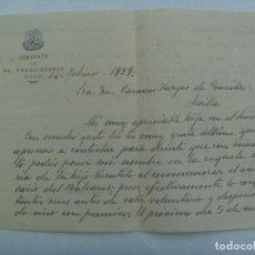Militaria: GUERRA CIVIL : CARTA CONVENTO FRANCISCANOS DE CADIZ A MADRE MARINERO MUERTO EN EL BALEARES, 1939. Lote 194577927