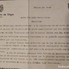 Militaria: 1944 LUYS LUIS SANTAMARINA FALANGE ALCALDE SITGES NICHOS DE CAIDOS GUERRA CIVIL FELIP FONT SOLER. Lote 195034416