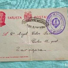 Militaria: REGIMIENTO DE TRASMISIONES..61 DIVISION..1938..CARTA POSTAL DESDE EL FRENTE A CASA. Lote 195435303