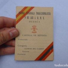Militaria: * ANTIGUO CARNET DE FALANGE DE HUESCA, ORIGINAL. ARAGON. AÑOS 40. ZX. Lote 196127506