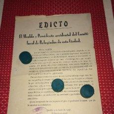 Militaria: COMITE LOCAL DE REFUGIADOS - EDICTO - 4 DE JUNIO DE 1937 - PABLO MATEOS - JUMILLA. Lote 196664835