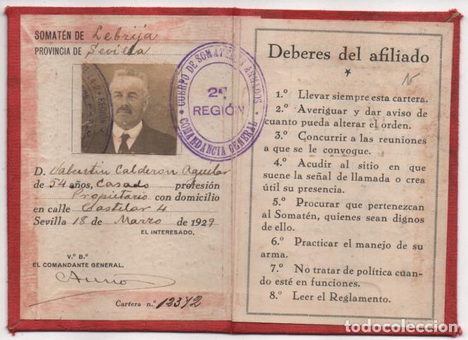 LEBRIJA- SEVILLA-CARNET- CUERPO SOMATEN ARMADO DE ESPAÑA. Vº Bº FIRMA COMANDANTE GENERAL, VER FOTOS (Militar - Guerra Civil Española)