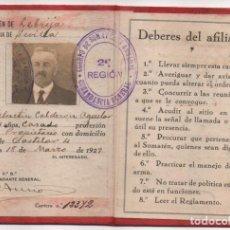 Militaria: LEBRIJA- SEVILLA-CARNET- CUERPO SOMATEN ARMADO DE ESPAÑA. Vº Bº FIRMA COMANDANTE GENERAL, VER FOTOS. Lote 197150118