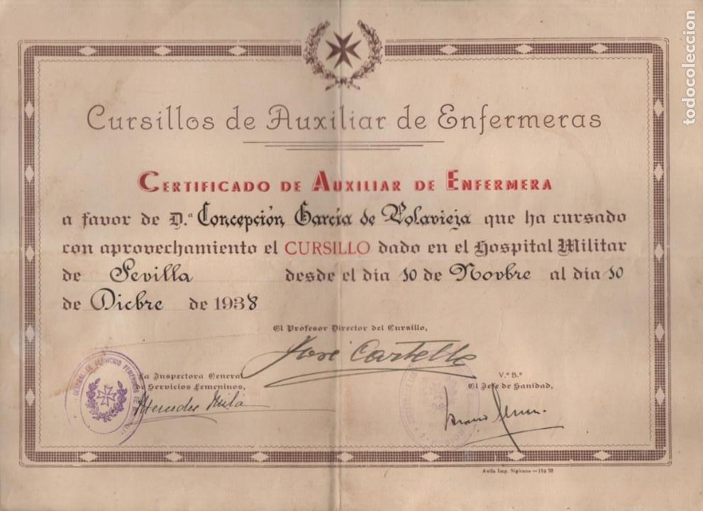 SEVILLA, CERTIFICADO AUX. ENFERMERIA--HOSPITAL MILITAR- 10 NOVIEMBRE 1938, VER FOTOS (Militar - Guerra Civil Española)
