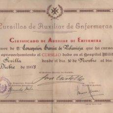Militaria: SEVILLA, CERTIFICADO AUX. ENFERMERIA--HOSPITAL MILITAR- 10 NOVIEMBRE 1938, VER FOTOS. Lote 197178453