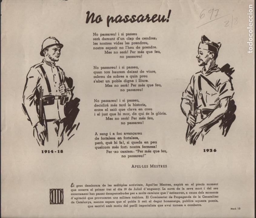 CARTEL GENERALITAT MOD. 15--NO PASARAN. MIDE: 25 X 22,50 C.M. VER FOTO (Militar - Guerra Civil Española)