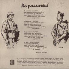 Militaria: CARTEL GENERALITAT MOD. 15--NO PASARAN. MIDE: 25 X 22,50 C.M. VER FOTO. Lote 197182155