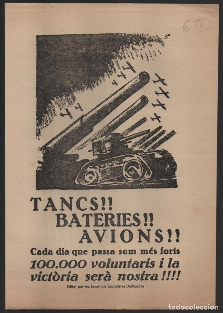 CARTEL J.S.U.-- TANCS - BATERIES - AVIONS- - MIDE: 25 X 18 C.M. VER FOTO (Militar - Guerra Civil Española)