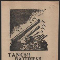 Militaria: CARTEL J.S.U.-- TANCS - BATERIES - AVIONS- - MIDE: 25 X 18 C.M. VER FOTO. Lote 197182655