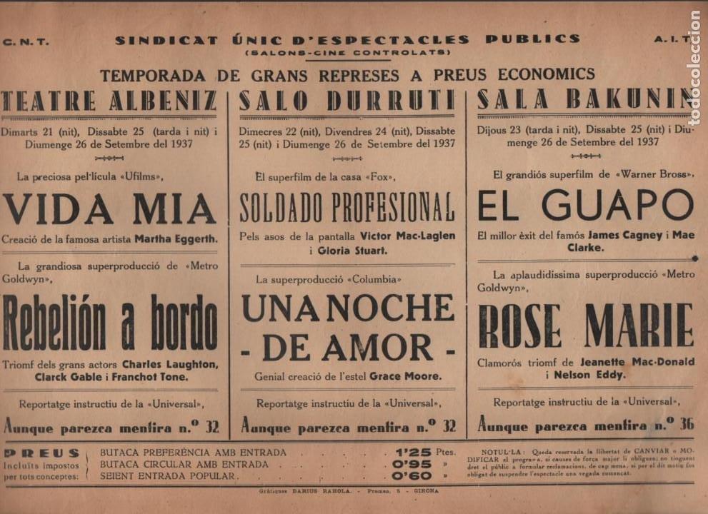 C.N.T. A.I.T. --SINDICATO UNICO DE ESPECTACULOS PUBLICOS. MIDE; 32 X 22 C.M. VER FOTO (Militar - Guerra Civil Española)
