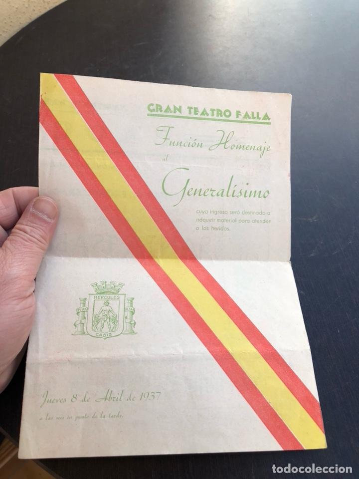 ANTIGUO PROGRAMA HOMENAJE A FRANCISCO FRANCO, TEATRO FALLA, 1937 (Militar - Guerra Civil Española)