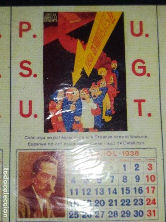 Militaria: ÚNICO CALENDARIO 1938 ALMANAQUE P. S. U. CARTEL U. G. T. RENAU VARIOS PSU UGT GUERRA CIVIL ESPAÑOLA - Foto 6 - 198073565