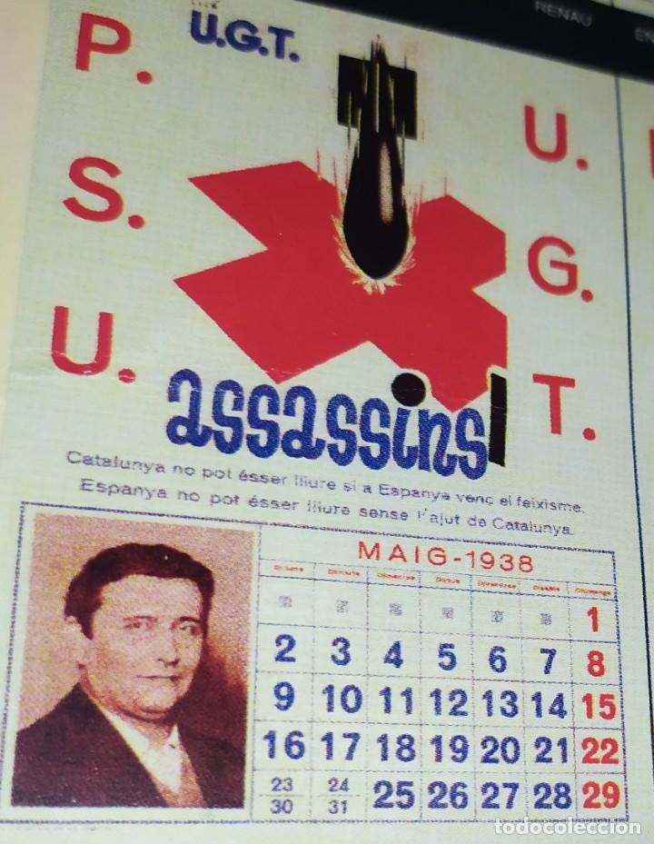 Militaria: ÚNICO CALENDARIO 1938 ALMANAQUE P. S. U. CARTEL U. G. T. RENAU VARIOS PSU UGT GUERRA CIVIL ESPAÑOLA - Foto 7 - 198073565