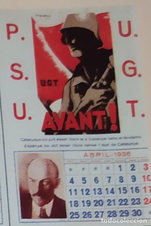 Militaria: ÚNICO CALENDARIO 1938 ALMANAQUE P. S. U. CARTEL U. G. T. RENAU VARIOS PSU UGT GUERRA CIVIL ESPAÑOLA - Foto 11 - 198073565