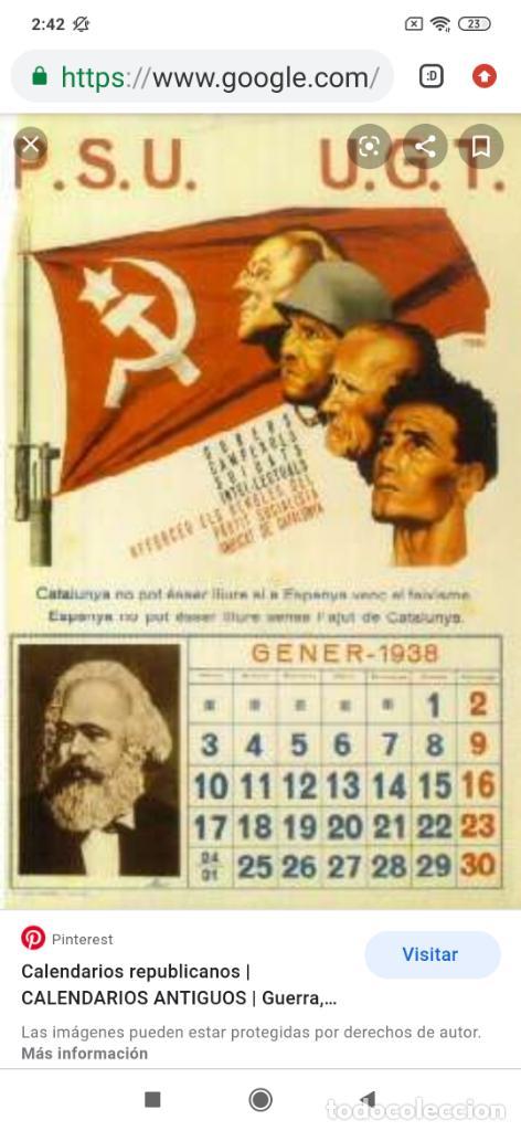 Militaria: ÚNICO CALENDARIO 1938 ALMANAQUE P. S. U. CARTEL U. G. T. RENAU VARIOS PSU UGT GUERRA CIVIL ESPAÑOLA - Foto 23 - 198073565