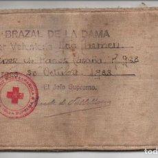 Militaria: BURGOS,- CRUZ ROJA- BRAZAL DE LA DAMA- AÑO 1938, JEFE SUPR. CONDE DE VALLELLANOS, VER FOTOS. Lote 198891827
