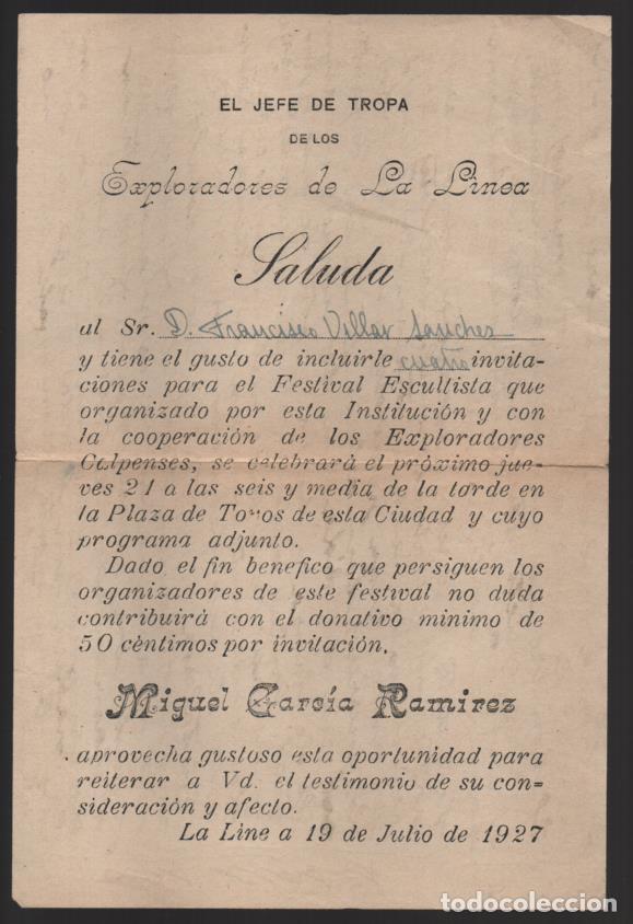 LA LINEA- CADIZ- EL JEFE DE TROPA DE LOS EXPLORADORES,. SALUDA- AÑO 1927, VER FOTO (Militar - Guerra Civil Española)