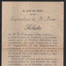 Militaria: LA LINEA- CADIZ- EL JEFE DE TROPA DE LOS EXPLORADORES,. SALUDA- AÑO 1927, VER FOTO. Lote 199620300
