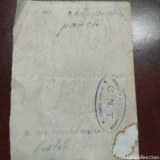 Militaria: CNT GUERRA CIVIL .VALE POR 12 METROS DE PAÑETE. Lote 199662583