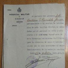 Militaria: 3 ESCRITOS HOSPITAL MILITAR CADIZ GUERRA CIVIL SECC INFORMACION MEDALLA CAMPAÑA PASADOR RETAGUARDIA. Lote 200512345