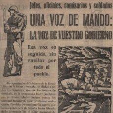 Militaria: BARCELONA-P.C.E. -UNA VOZ DE MANDO : LA VOZ DE VUESTRO GOBIERNO- MIDE: 35 X 24 C.M. VER FOTOS. Lote 201305511