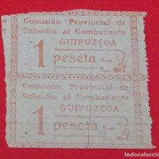 Militaria: SELLO COMISION PROVINCIAL DE SUBSIDIO AL COMBATIENTE, GUIPUZCOA, 1 PESETA. Lote 202697005
