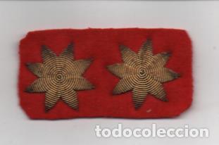 MILITAR -DOBLE ESTRELLA DE 8 PUNTAS-BORDADA A MANO- MIDE: 6 X 3 C.M. VER FOTOS (Militar - Guerra Civil Española)