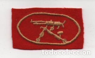 DISTINTIVO DE TELA BORDADO A MANO- AMETRALLADORA- MIDE : 6 X 3 C.M. VER FOTOS (Militar - Guerra Civil Española)