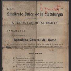 Militaria: C.N.T A.I.T. S.U. METALURGICOS- COVOCATORIA-ASAMBLEA GENERAL DEL RAMO- VER FOTO. Lote 203554343