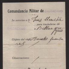 Militaria: GALDACANO- AUTORIZACION TRASLADO A BILBAO Y REGRESO, AGOSTO DE 1937- VER FOTO. Lote 203775041