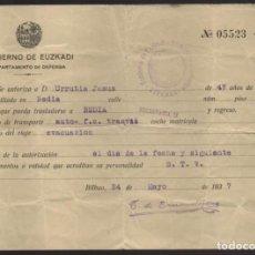 Militaria: EUZKADI- BILBAO- DEPARTAMENTO DE DEFENSA -EVACUACION-- 24 MAYO 1937,- VER FOTO. Lote 203783556