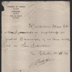 Militaria: SAN SEBASTIAN- COMISARIA SANIDAD- HOSPITALIZACION DEL MILICIANO- 25 AGOSTO 1936,- VER FOTOS. Lote 203783768