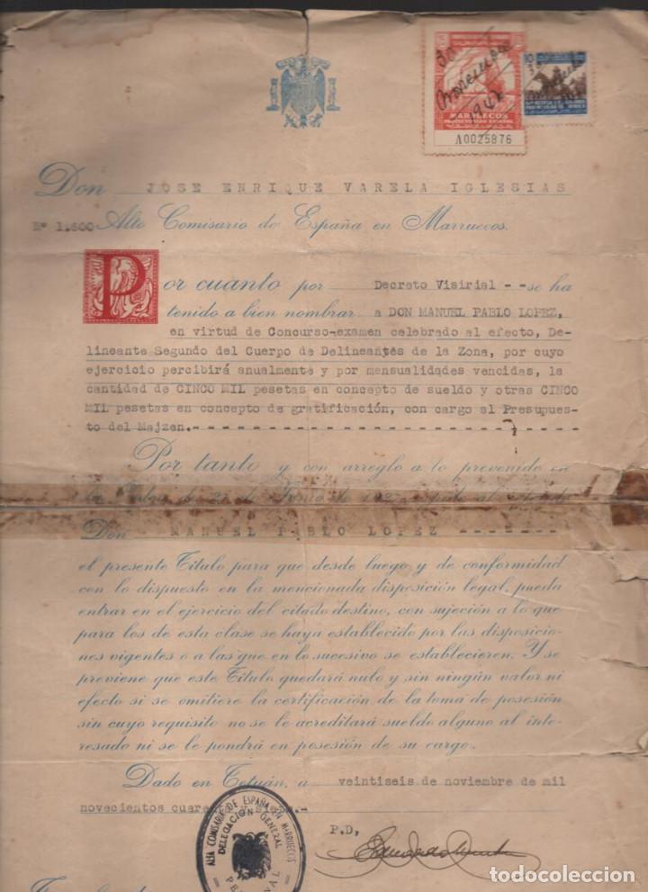 MARRUECOS.- D. JOSE ENRIQUE VARELA IGLESIAS.- ALTO COMISARIADO EN MARRUECOS, VARIAS FIRMAS (Militar - Guerra Civil Española)